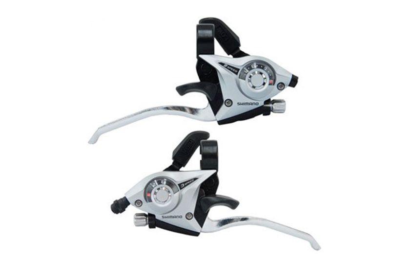 Шифтер/тормозная ручка Shimano Tourney EF65 лев/пр 3x9ск тр.+оплетк серебро ESTEF65P9AS
