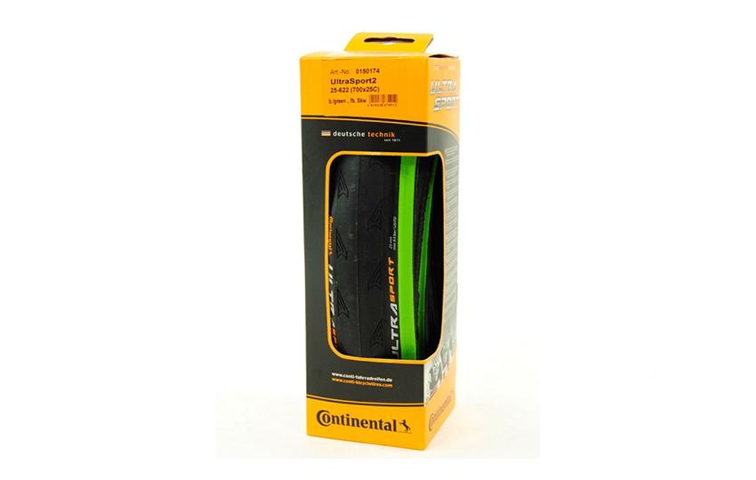 "Велопокрышка 28"" Continental Ultra Sport 2 foldable black/green 3/180Tpi 700x25mm/740000"